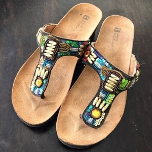Brilliant Tribal Multi Sequin Cork Wedge Sandals